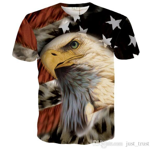 Hot Fashion Creative Anime animal Eagle aweful cats printing men tees tops 3D Graphic Hiphop summer men t shirts Men's Clothing