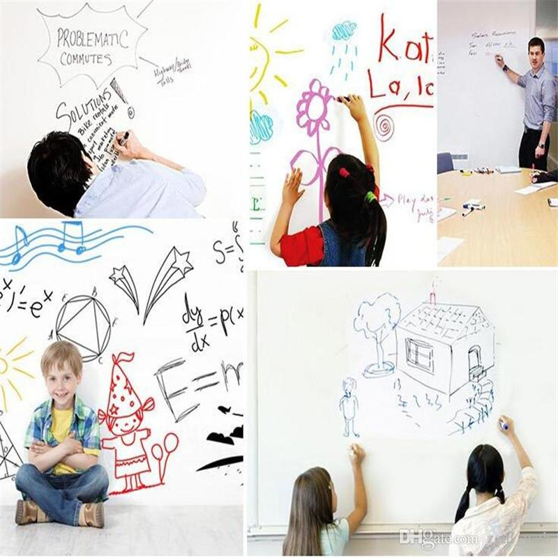 45x200CM PVC Whiteboard Wall Stickers Decals Vinyl Removable DIY White Board Sticker for Kids With Marker Pen Wiht Retail Packaging