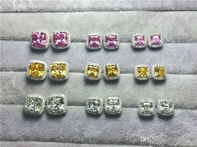 2 karat / çifti Prenses kare kesim Pembe sentetik elmas saplama küpe kadınlar için düğün nişan damızlık küpe 18 K Beyaz Altın Kaplama