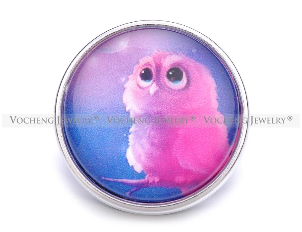 VOCHENG NOOSA Wholesale 18mm Cute Owl Charm Glass Ginger Snap Jewelry Vn-1179