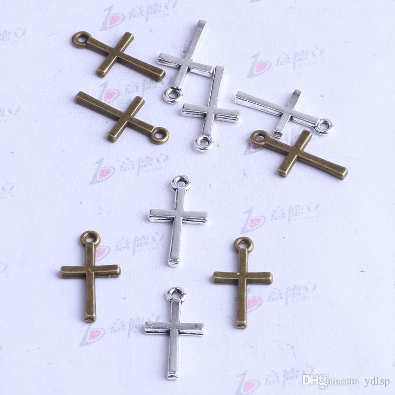 Ydlsp 18.4 * 10mm mini pendentif Croix brillant argent / alliage de zinc zinc ajustement Bracelets Collier / 2597