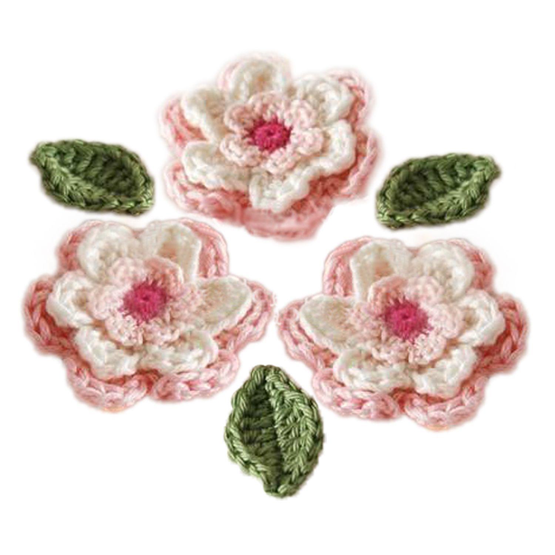 2018 6 Petal 3 Layer Handmade Crochet Flower & Leaf Cotton Yarn ...
