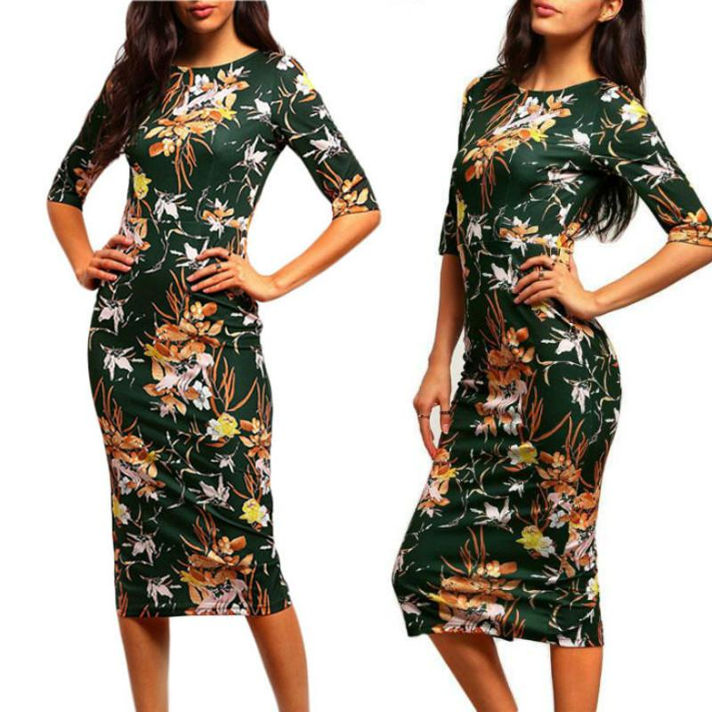 8b9aaa36693 Womens Brand Bodycon Dresses New Vintage 2016 Spring Summer Office Green  Mock Neck Floral Pencil Midi Dress Work Business Casual Party Dress Shop  Cocktail ...