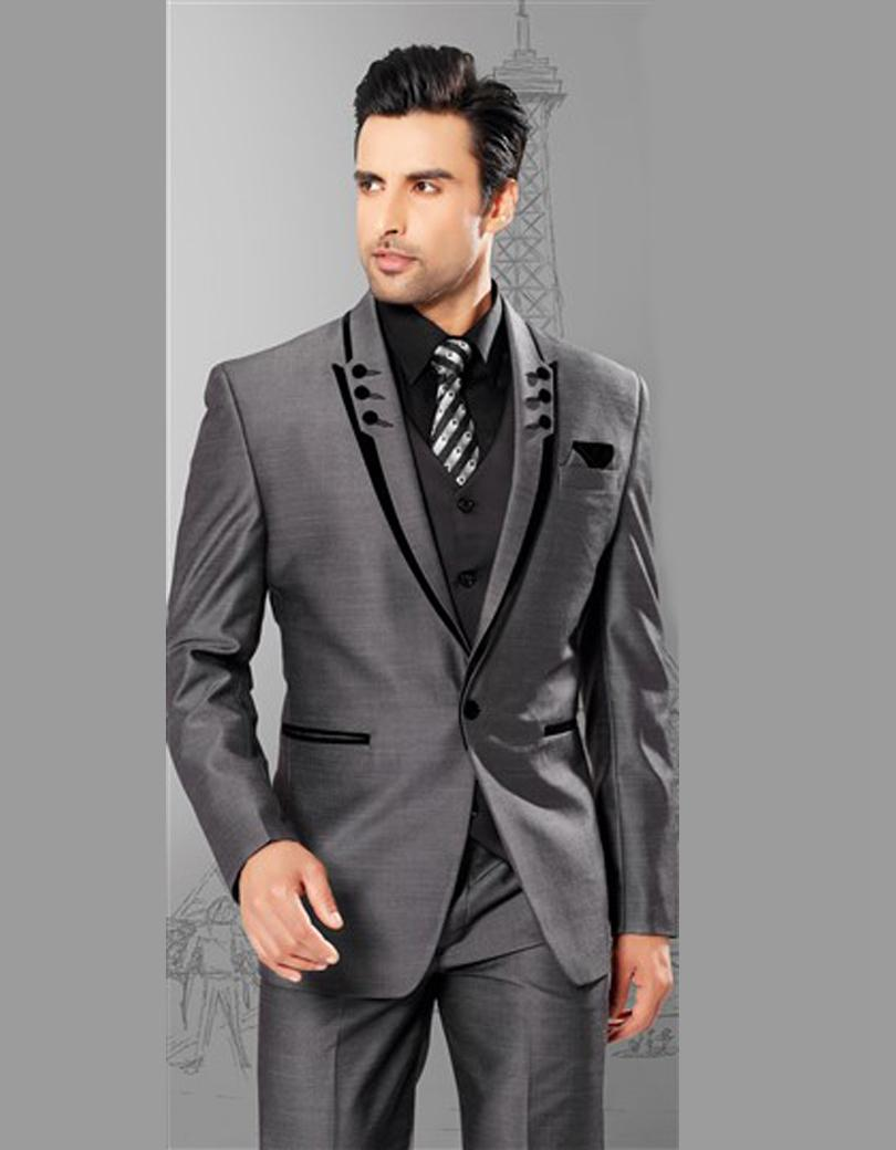 custom made grey man suit 1 buttons wedding suit for man. Black Bedroom Furniture Sets. Home Design Ideas
