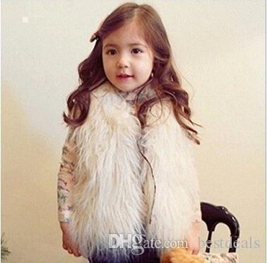 Sevimli Kız Yelek Kürk Yelek Sıcak Yelekler Kolsuz Ceket Çocuk Ucuz Dış Giyim Kış Coat Bebek Giysileri Çocuk Giyim Kız Yelek MC0307