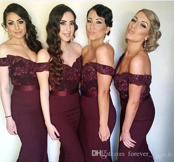 Популярные платья для подружек невесты с плеча Русалка Длинные платья подружек невесты Кружева Аппликация Топ Вечерние платья с лентами
