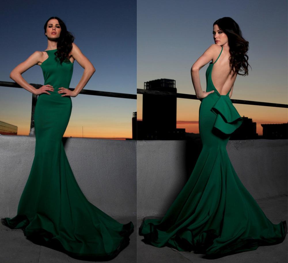 2016 Sexy Backless Green Prom Dresses Elegancki Bez Ramiączek Płaszcza Syrenka Długość Długość Wieczorowa Suknie Czerwone Carpet Suknie Celebrity Sukienki