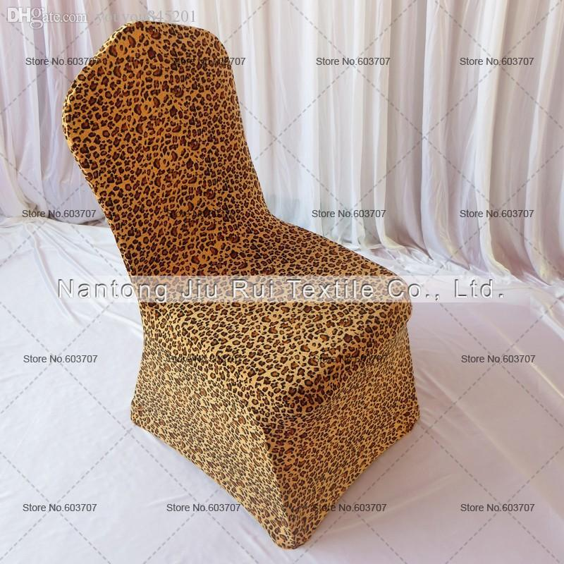 Leopard Print Lycra Chair Cover Flat Front For Wedding Decoration Party High Quality Spandex Chair Cover