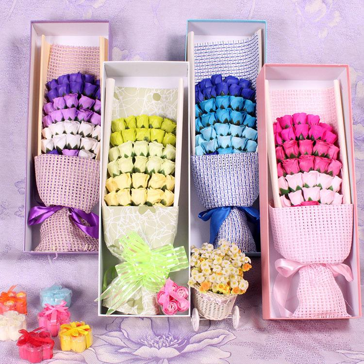 2018 Soap Flower Bouquet Roses Gift Packing Petal Soap