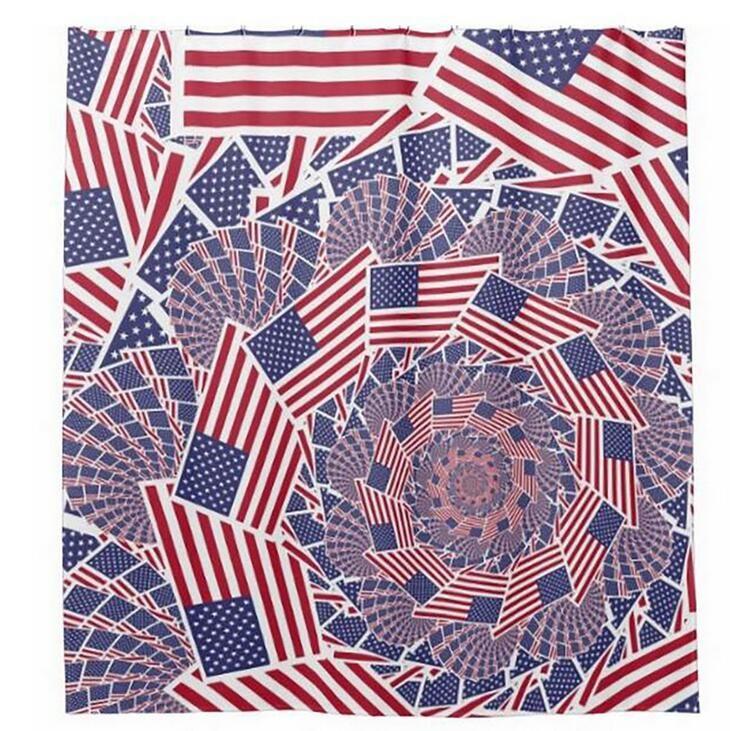 Customs 36/48/60/66/72 W x 72 H Inch Shower Curtain Flag America Waterproof Polyester Fabric DIY Shower Curtain