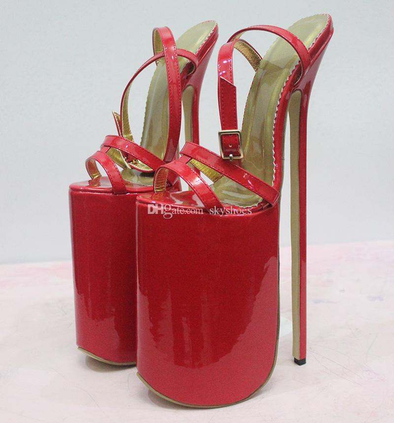 18 cm high heeled red mules 5