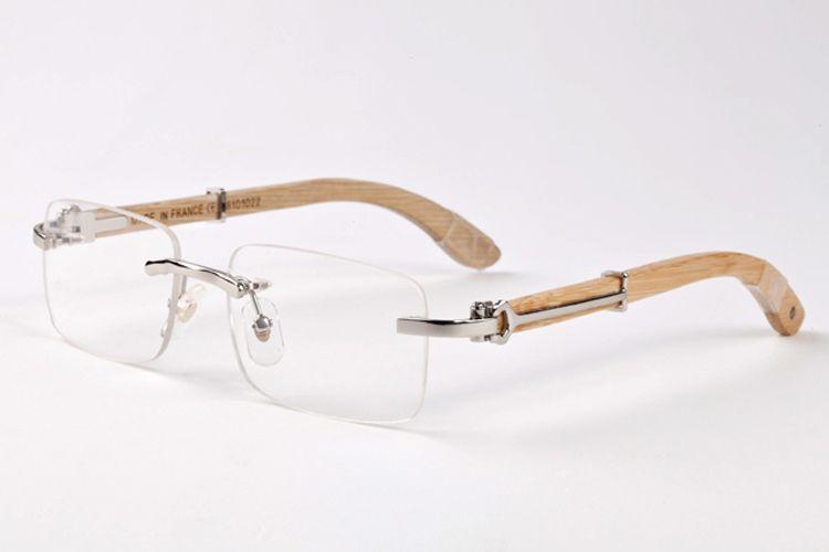 brand designer rimless sunglasses for men 2017 fashion wood bamboo retro buffalo horn glasses brown black clear glass lens sunglasses