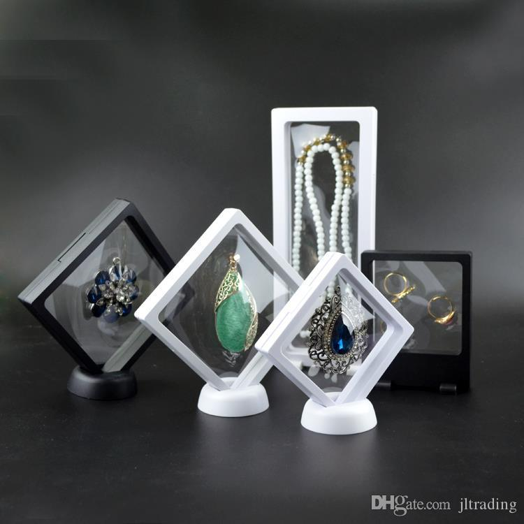PET Membrane Jewelry Ring Pendant Display Stand Holder Bague Packaging Box Protect Jewellery & Stones Floating Presentation Case Dispaly