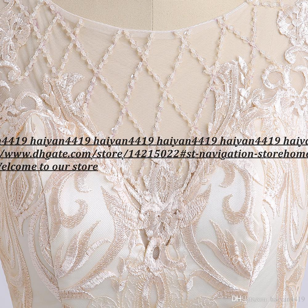 Шампанское мама невесты платье с шифоновыми куртки шнурка Аппликация Длинные рукава длиной до колен свадебное платье для гостей Формальные вечерние платья
