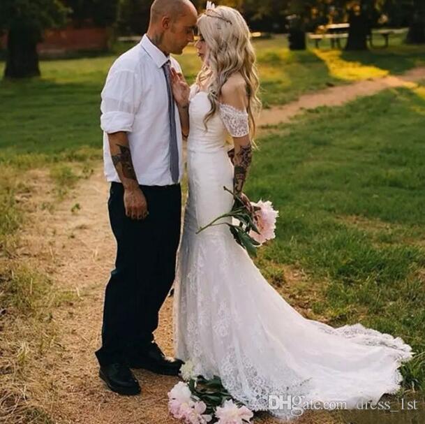 Romântico 2017 Lace Off The Shoulder Sereia Vestidos de Casamento Longo Barato Jardim Do País Boêmio Vestidos De Noiva Feitos Sob Encomenda China EN82811