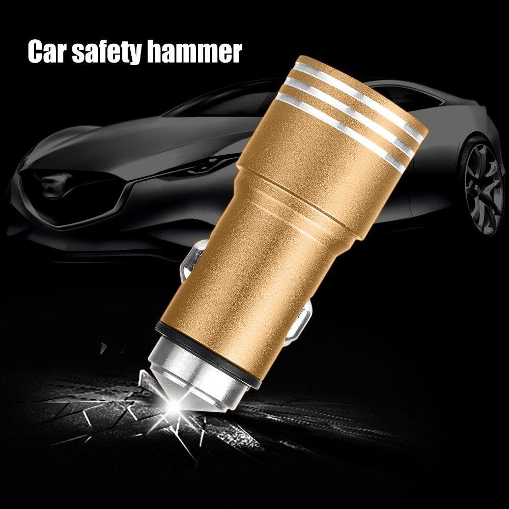 2 en 1 cargador del coche de acero inoxidable martillo de la emergencia 5V 2.1A del cigarrillo cargadores más ligeros de aluminio de doble USB