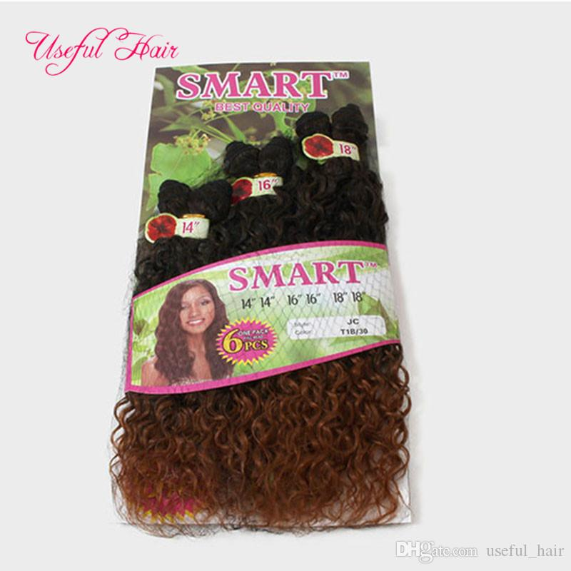WHOLESALE BLONDE hair extensions SMART BEST QUALITY synthetic weft hair ombre BROWN color Jerry curl crochet braids hair weaveS