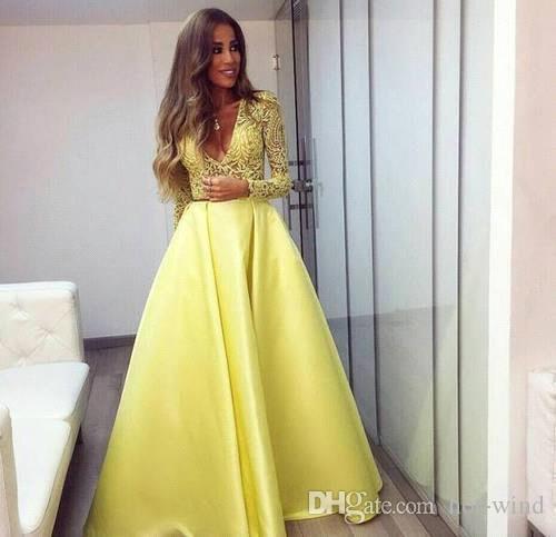 Elegante giallo Dubai Abaya maniche lunghe abiti da sera scollatura profonda scollo a V Abiti di pizzo Abiti da sera Zuhair Murad Prom Abiti da festa BA3130
