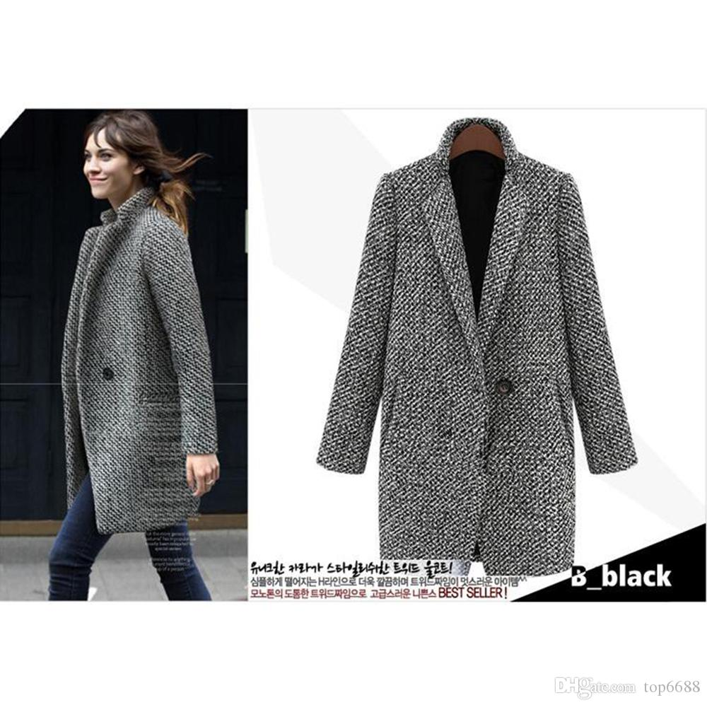 2018 2017 Elegant Women Winter Wool Coats Plus Size Grey Warm ...