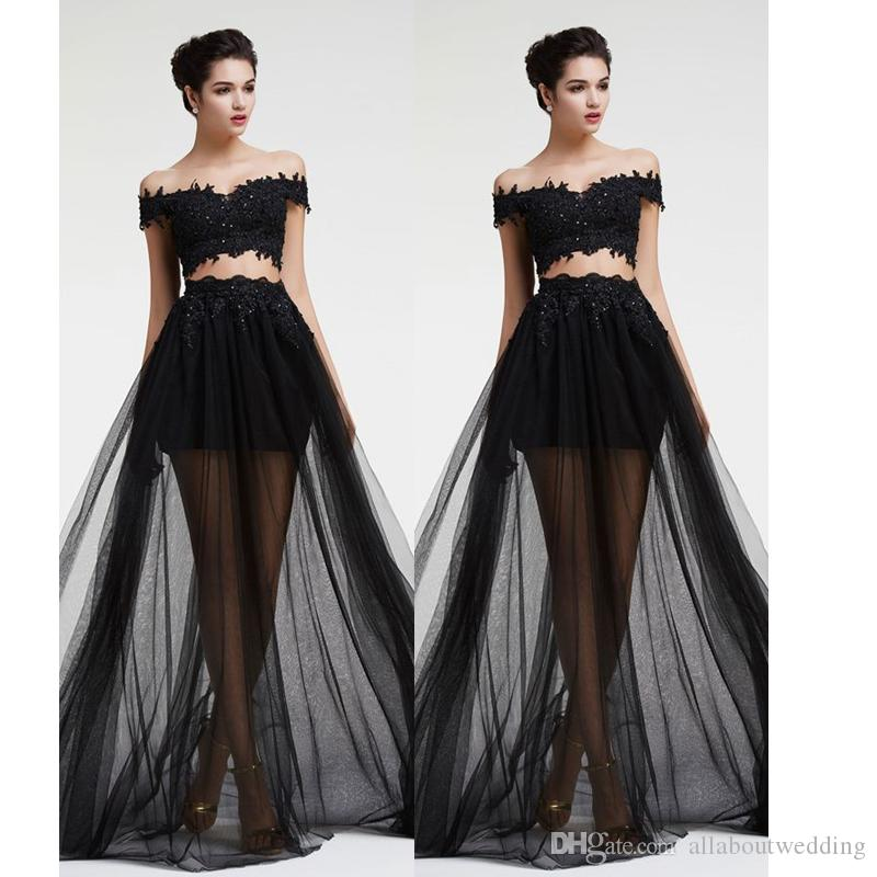 1cd92cc26bb Jewel Bateau Crop Top Two Piece Black Lace Prom Dresses A line Illusion  Tulle Skirt Sexy New Trend 2016 Factory Custom Made