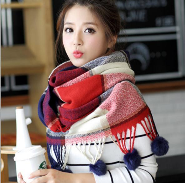 Scarf Female Winter Rabbit Hair Ball Lattice Collar Large Warm Shawl