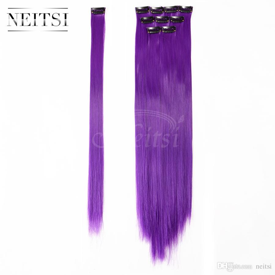 Promotion Purple 18 Synthetic Clip In Hair Extensions Synthetic