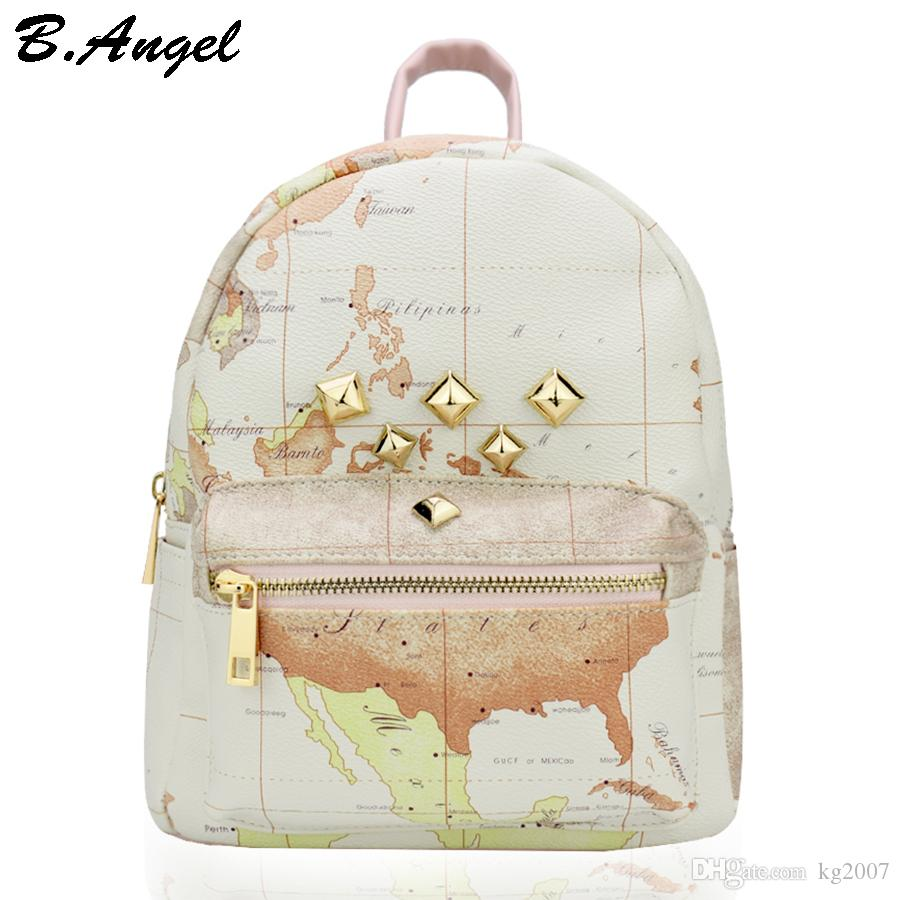 High quality unisex world map backpack rivet women backpack 55 gumiabroncs Image collections