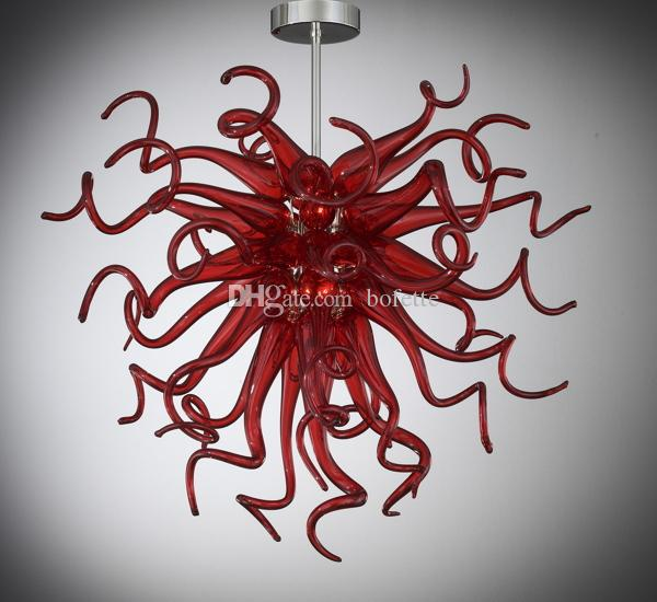 Artistic Style Red Crystal Chandelier Energy Saving 110v-240v LED Bulbs Free Shipping 100% Murano Blown Glass Crystal