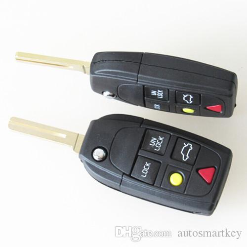 Hot Volvo 5 button flip folding remote key blank shell case for volvo S80 S60 V70 XC70 XC90