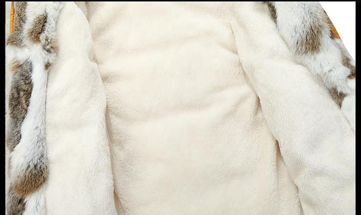 2017 hiver canard vers le bas veste hommes manteau parkas doublure de laine mâle chaud vêtements col de fourrure de lapin de haute qualité, PLUS-TAILLE M à 5XL