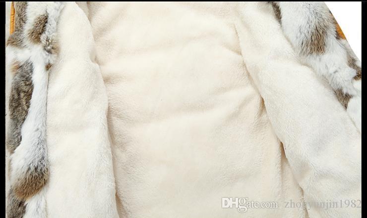 2017 kış ördek aşağı ceket erkekler coat parkas Yün Astar erkek Sıcak Giysiler Tavşan kürk yaka Yüksek Kalite, PLUS-BOYUTU M 5XL