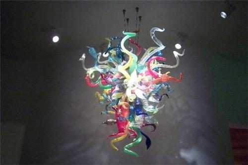 European Style Vintage Colored Crystal Chandelier Lighting Small Living Room Decorative Chandelier Glass Colorful Light Fitting