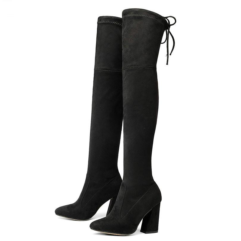 36408a88778 Compre NUEVO Sucrb Cuero Mujeres Sobre Las Botas De La Rodilla Ata Para  Arriba Sexy Hoof Heels Mujeres Zapatos Soild Invierno Caliente Tamaño 34 43  Envío ...
