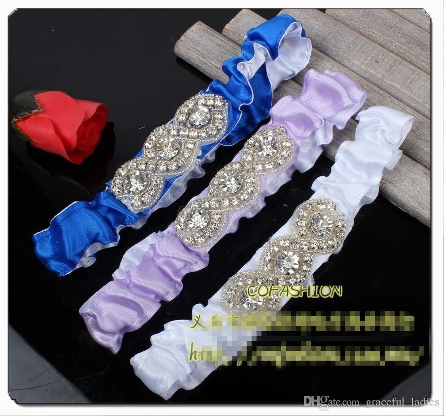 Long Wedding Garters: Satin Crystal Royal Blue Wedding Garters Stretched
