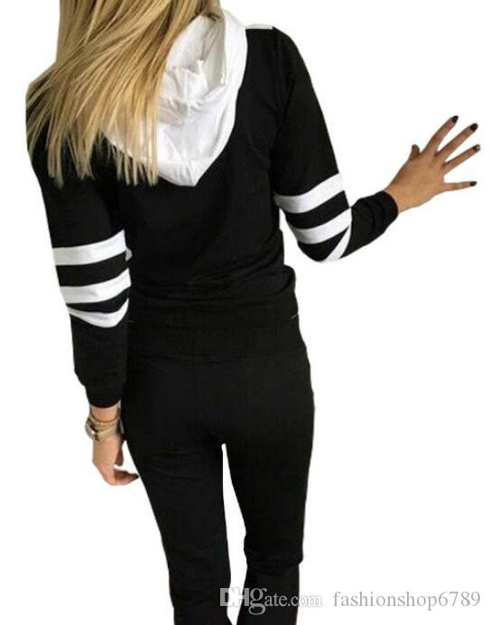 Sudaderas con capucha deportivas ocasionales de las mujeres + pantalones corredores femeninos al por mayor y al por menor de la ropa, color del golpe de la mujer del suéter del chándal de las sudaderas