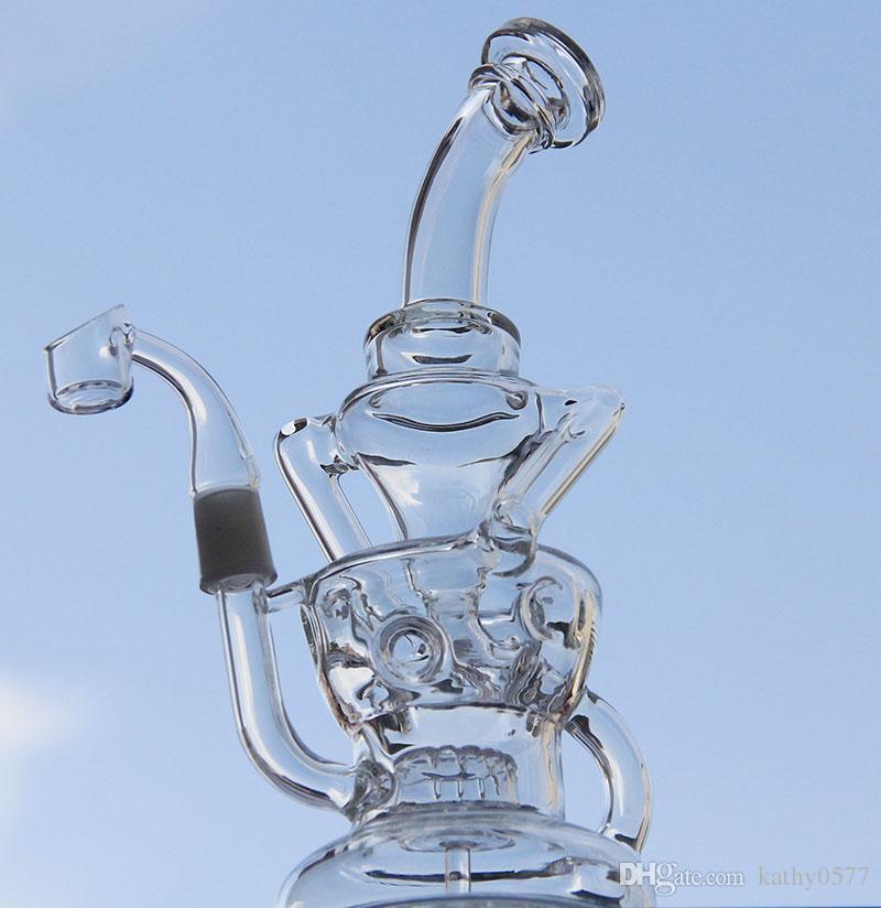 Klein bong tubi di acqua di vetro Nuovo arrivo con banger al quarzo chiodo, bong di vetro uovo Recycler gear perc 14mm comune