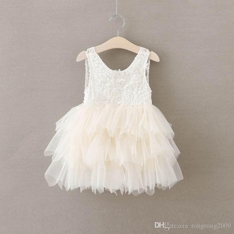 Vendita al dettaglio estate nuova ragazza vestito in pizzo garza principessa vestito vestito ragazza partito prendisole vestito a strati vestito bambini abbigliamento E16900