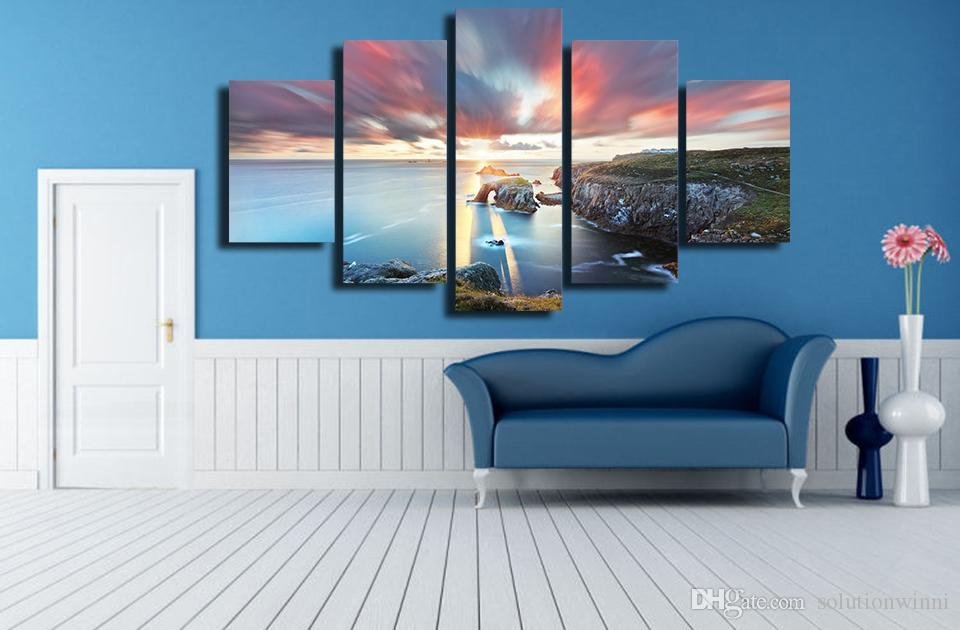 HD Printed Sunset Lake Landscape Painting Canvas Print room decor print poster picture canvas great oil paintings