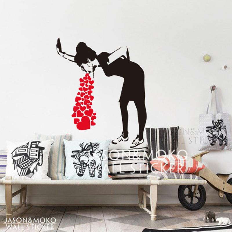 Home decor wall sticker banksy style lovesick girl woman heart love cough vinyl wall decal sticker mural wallpaper living room home decor wall transfer