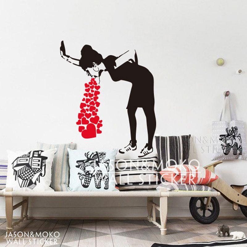 Sticker Mural Banksy Style Lovesick Girl Woman Heart Love Cough Vinyl Wall  Decal Sticker Mural Wallpaper Living Room Home Decor Art 80x95cm Wall Decals  ... Part 87