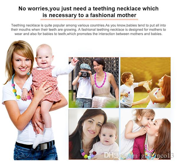 Silicone Teething Necklace FDA Approved Safe Silicone Round Beaded Necklace Hexagon Pendant Chewelry Nursing Jewelry for Mom Baby Accessory