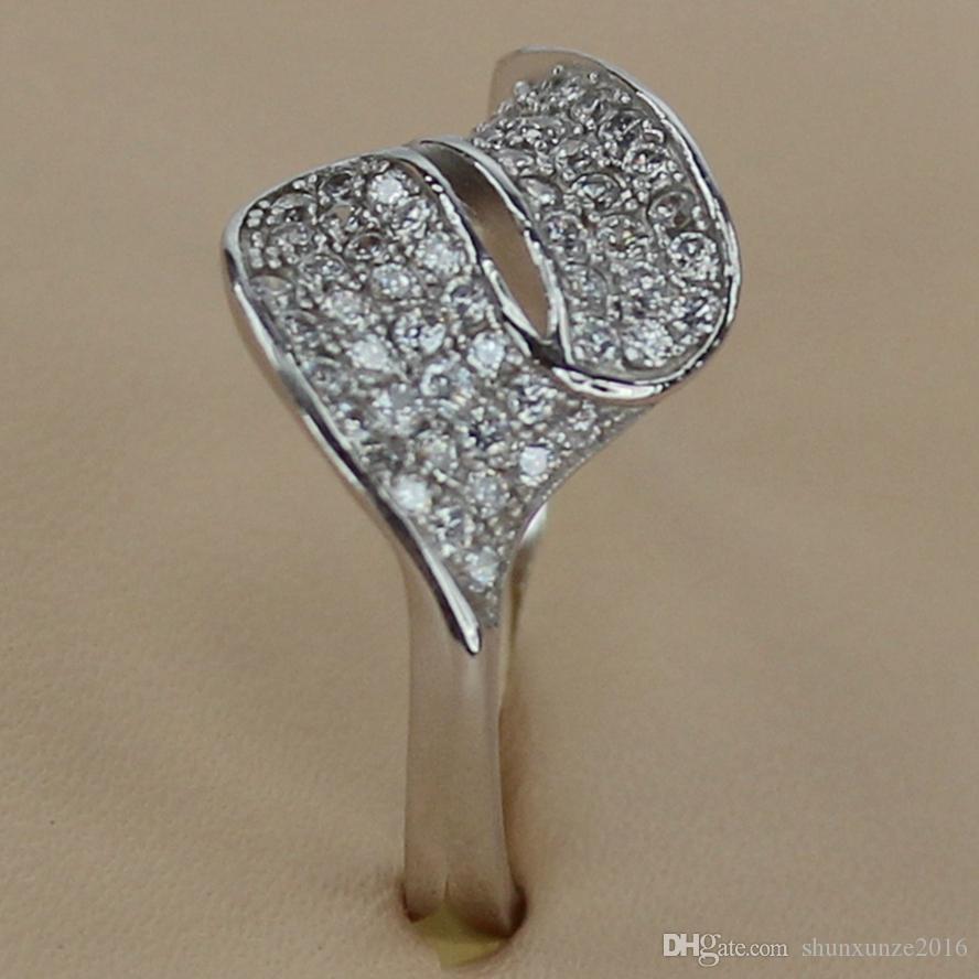 Kupfer Rhodium überzogene Promotion Ringe Weiß Zirkonia Favorit MN3239 sz # 6 7 8 9 Edle Großzügige Bestseller Die neue Auflistung Shinning