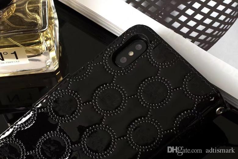 لفون X حالة ترف مصمم محفظة العلامات التجارية جلد الوجه حامل بطاقة الائتمان القضية لفون 7 حالة 6 زائد غالاكسي S8 زائد S6 S7Edge Note5