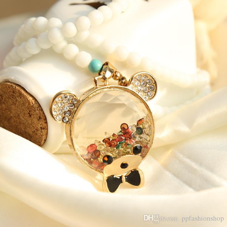 Tempérament rond bouteille de parfum personnalité unique collier décoratif, dames long paragraphe pendentif pendentif accessoires, chaîne de chandail je