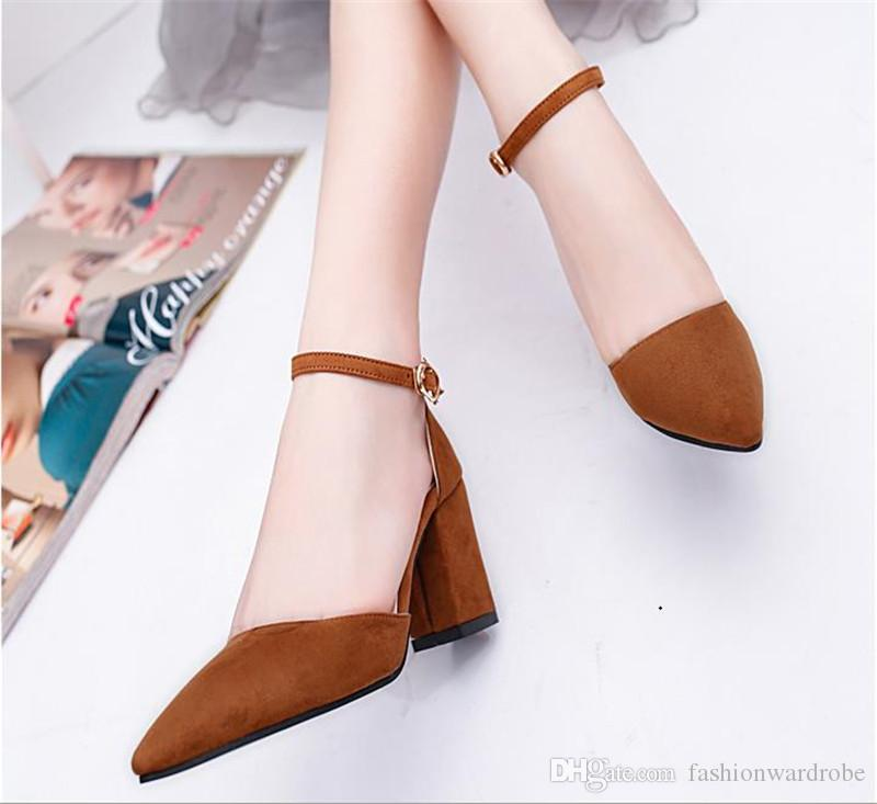 Close Toe Suede Design Women Wedding Pumps Faux Suede Sexy Chunky ...