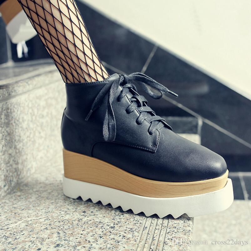 a9e5253acd6 European Brand Popular High Top Brogue Shoes Height Increased Platform  Wedges Creepers Lace Up Derby Shoes Women Round Toe Casual Shoes CR52  Summer Shoes ...