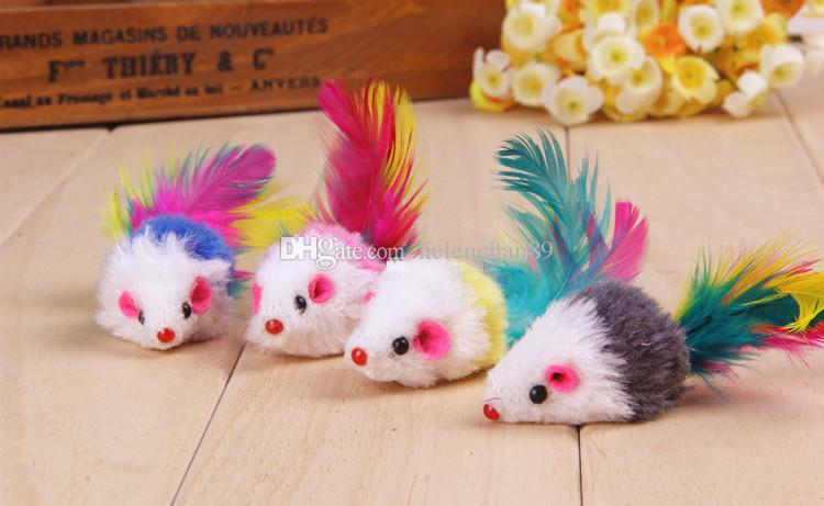 Funny Colorful Feather Tail Mouse Shape Cat Toy Cute Pet Toys for Cats Drop Shipping Fast Delivery Time /