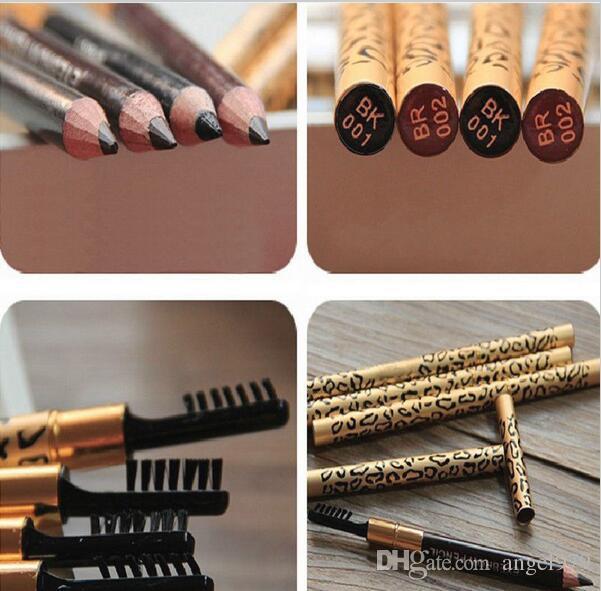 La nuova matita nera impermeabile del sopracciglio delle donne del leopardo con la spazzola compone i colori dell'eye-liner 5 sceglie /