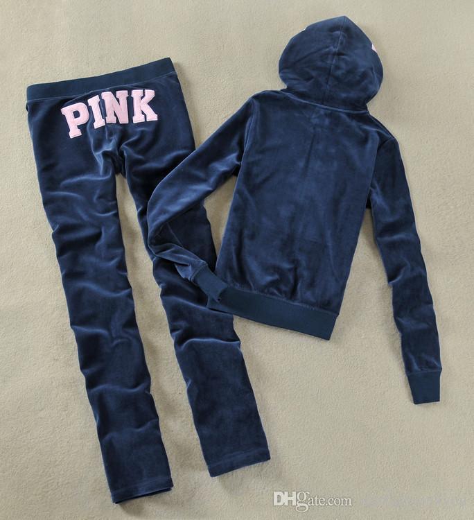 Hot womens Ladies Sweatsuits PINK de manga larga con cremallera Jogging Velour Chándales Sweat Suits Hoodies Sportswear Sports Set envío gratis