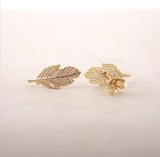 10 adet / Moda Bir yaprak küpe 18 K Altın Kaplama / gümüş kaplama / gül altın kaplama küpe toptan ücretsiz kargo